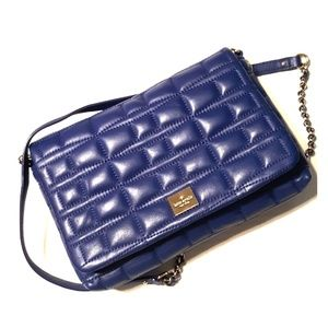 "Kate Spade ""Brianne"" Blue Quilted Leather Xbody"
